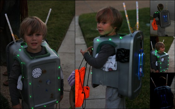 Overly complicated geeky homemade robot costume by un-crafty people.
