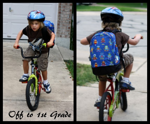 Biking to school on the first day.